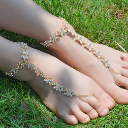 $enCountryForm.capitalKeyWord Australia - barefoot sandals Crystal Flower Barefoot Sandals Anklet Bracelet for Women Rhinestone Bridal Toe Ankle Foot Chain Jewelry Beach Wedding