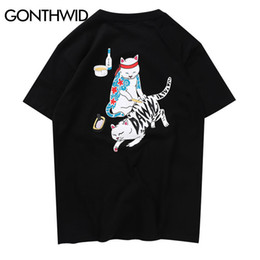 Discount hip hop tattoo sleeve - Gonthwid Funny Japanese Ukiyo-e Tattoo Cat Tshirts Men Summer Hip Hop Casual Streetwear Tops Tees Male Fashion Cotton T