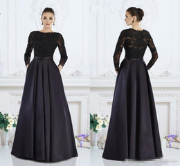 $enCountryForm.capitalKeyWord UK - Janique Black Long Sleeves Formal Mother's Dresses A-Line Jewel Lace Mother of The Bride Dresses Custom Made Women Evening Wear Z10