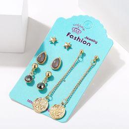 $enCountryForm.capitalKeyWord Australia - New Pattern Charm Women Earrings Jewelry Originality Creative Alloy Acrilic Golden Stars Seal Rose Ear Pendant Nail 1 Set Include 4 Pairs