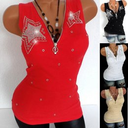 $enCountryForm.capitalKeyWord Australia - 5XL 4XL Plus Size Women Zipper T-Shirts Sexy Summer Cotton T-Shirt V Neck Diamond Sleeveless Vests