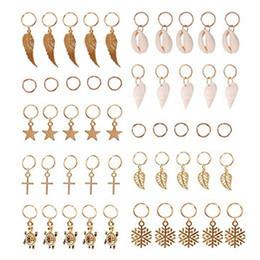 Anillos de trenza para el cabello, 50 piezas de lazos para el cabello, clips, anillo de oro, concha, hojas, concha de estrella, copos de nieve, colgantes, conjunto de clips, diadema, accesorio en venta