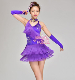 Wholesale ballroom dresses for tango for sale - Group buy Girl Latin Dance Dresses For Tassel style Cha Cha Rumba Samba Ballroom Tango Dance Clothing Kids Costume tassel Dancewear