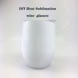 Vente en gros Bricolage chaleur Sublimation verre à vin Verres à 12 onces de vin en acier inoxydable Coquetiers Stemless verres à vin avec couvercle Envoi gratuit