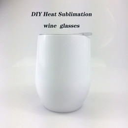 Wholesale DIY Sublimation Tumbler 12oz Wine tumbler Stainless Steel Wine Glasses Egg Cups Stemless Wine Glasses with Lid Free shipping