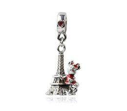 Wholesale Eiffel Tower Mouse Charm Sterling Silver European Charms Bead Dangle Fit Pandora Bracelets Snake Chain Fashion DIY Jewelry