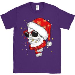 Cotton Neck Scarves NZ - Skull Wearing Xmas Hat & Scarf Smiling Gold Teeth Mens T-Shirt 100% cotton casual, printing short sleeve, men T shirt o-neck,