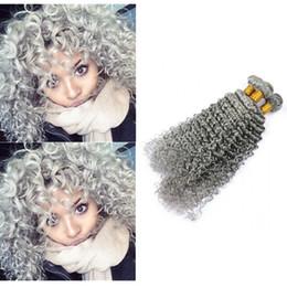 $enCountryForm.capitalKeyWord Australia - Double wefted Silver Grey Virgin Human Hair Weft Extensions 3 Bundles lot Blonde Grey Deep Wave Wavy virgin human Hair Weaves