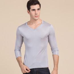 48517b36f32f78 Silk Long Johns Australia - Warm Underwear Top Men's Pure Silk V Neck Long  Sleeves Long