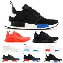 best black sneakers for men 2019 - Best Quality NMD R1 Primeknit Runner For Men Women Running Shoes OG Release Triple Black Designer Sport Sneakers Trainer