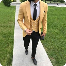 $enCountryForm.capitalKeyWord Canada - Latest Coat Pant Designs Yellow Men Suits for Wedding Groomsmen Groom Tuxedo Double Breasted Best Man Blazer Jacket 3Piece Costume Homme