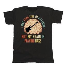 Guitar Tees Australia - Mens Womens BASSIST T-Shirt My Brain Is Playing BASS Music Tee Guitar Gift Funny Men Women Unisex Fashion tshirt Free Shipping