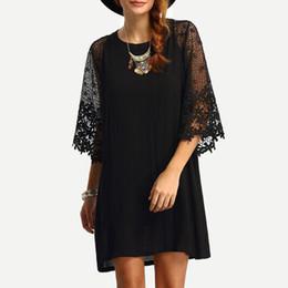 Solid Crochet Plus Size Shorts NZ - Women 4XL 5XL Loose Dress Sheer Crochet Lace Cut Out 3 4 Sleeve Casual Short Dress Solid Mini Dress Plus Size Vestidos Black