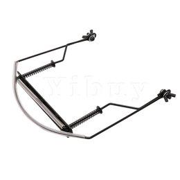 Yibuy Metall Mundharmonika Halshalter Schwarz 10 Löcher Hände Frei Ständer Halter Verstellbare Rack Unterstützung Halsclip für Mundharmonika