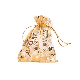 $enCountryForm.capitalKeyWord UK - 100 pieces of mesh sand bag 7*9cm drawstring bunch pockets gilded rose organza Christmas gifts bag