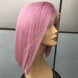$enCountryForm.capitalKeyWord Australia - Lavender Purple Full Lace Human Hair Short Bob Wig With Baby Hair Bleached Knots Natural Hairline Lace Front Bob Wigs