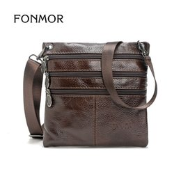 Discount small vintage messenger bag - FONMOR New Men's Solid Real Leather Messenger Bag Vintage Small Cross Body Bags Genuine Leather Shoulder Bag For Ma