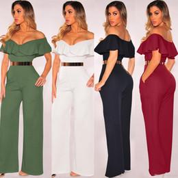 c07071ae75c9 Discount wide leg elegant pant jumpsuit - Ruffle Elegant Summer Jumpsuit  Women Sexy Off Shoulder Jumpsuit