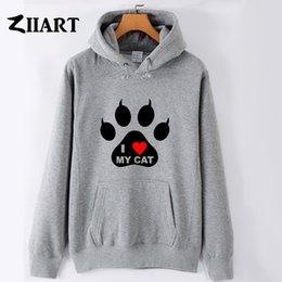 fleece printed paw prints NZ - I LOVE MY CAT pet pad paw print red heart couple clothes boys man male autumn winter fleece hoodies