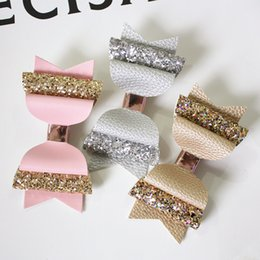 $enCountryForm.capitalKeyWord Australia - New 15PCS lot Lovely Bow Hair Glitter Big Size 10.5cm Hairpin Cute PU Leather Hairpin Modish Girls Prince Hair Clip Bowknot ClipMX190917