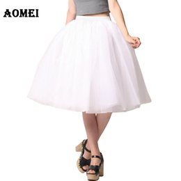 Women Tutu Plus Size Australia - Women White Princess Tulle Skirt Knee Length Junior Girls Lolita Cute Plus Size Grunge Jupe Female A Line Tutu Skirts New Puff Y19060301