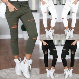 acrylic painting patterns NZ - Women Leggings Holes Pencil Stretch Casual Denim Skinny Ripped Pants High Waist Jeans Trousers Fashion Pants CNY1645