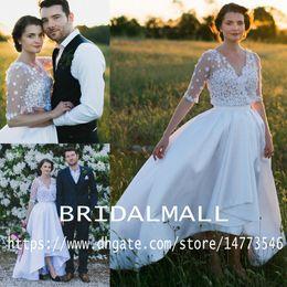 HigH low lace western wedding dress online shopping - Western Country Style Appliqued Lace High Low Wedding Dresses Elegant V Neck Satin Boho Beach Bridal Gowns Custom Short Wedding Dress