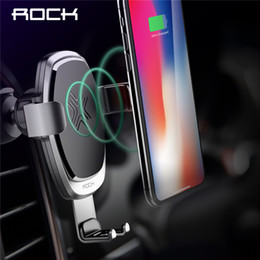 Qi For Iphone Australia - 10w Qi Wireless Car Charger Gravity Holder , Rock For Iphone X 8 Plus Samsung Galaxy S8 S7 Note 8 Quick Charge Charging Stand J190427