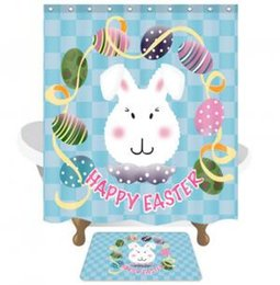 Shower bath curtainS online shopping - Easter Shower Curtain Bath Polyester Fabric Waterproof Shower Curtain with Mat Rabbit Painted Eggshell Curtains Bathroom Tool GGA1531