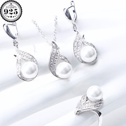 $enCountryForm.capitalKeyWord Australia - Women Pearl 925 Sterling Silver Bridal Jewelry Sets Wedding Pearls CZ Drop Earrings Rings Necklace Pendant Set Gifts Box