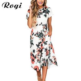 $enCountryForm.capitalKeyWord Australia - Rogi Vestidos De Verano 2019 Summer Printed Boho Tunic Dress Short Sleeve Casual Sundress Ladies White Dresses Robe Femme Ete T190703
