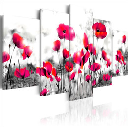 Canvas Pictures Flowers Australia - ( No Frame)5PCS Set Modern Wilderness Poppy Flower Art Print Frameless Canvas Painting Wall Picture Home Decoration