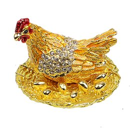 $enCountryForm.capitalKeyWord Australia - C Miracle Hen Hatching Eggs Bejeweled Collectible Trinket Jewelry Box Chicken Coop Ring Holder Mother`s Day Home Decor Figurine Ornament