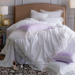 purple princess bedding NZ - French lace 60 long-staple cotton 4-piece bedding set bare sleeping European-style court princess style