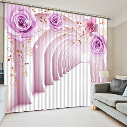 Curtain Painting Australia - Blackout Curtains For The Bedroom Painting Photo expand space 3D Bedroom Curtain purple rose 3D Curtains Home Decoration