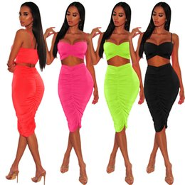 Wholesale party dress waist high resale online – 2019 New Style Fashion Two Piece Dress Sexy women bodycon Jumpsuits Elastic Sling Dresses Lady Party Casual fashion Night Club Clothing