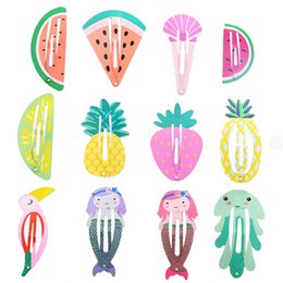 Hair Clip Barrette Snap NZ - 24pcs Girls Hair Clips for Baby Children Hair Styling Accessories Fruit Animal Snap Clip Pins Hairpins Cute Color Metal Barrette