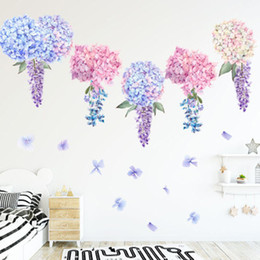 $enCountryForm.capitalKeyWord Australia - Purple Lavender Hydrangea Flowers Wall Stickers Kids Girls Room Background Wall Tattoo Home Decor Wall Decals Art Hanging Mural