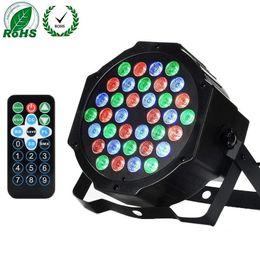 $enCountryForm.capitalKeyWord UK - Stage Light Flat Par Lamp Club DJ Party Disco Light Remote Control Sound 72W 36LED RGB Automobile Atmosphere Lamp