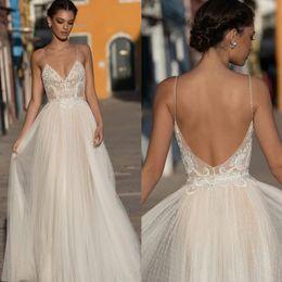 $enCountryForm.capitalKeyWord UK - Amazing Lace Appliqued Beach Wedding Dresses Spaghetti Straps V Neck Beaded Backless Bridal Gowns A Line Floor Length Tulle robe de mariée