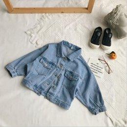 Acrylic Jackets Australia - girls boys denim coat 2019 spring fashion long sleeve kids jacket 2-7t