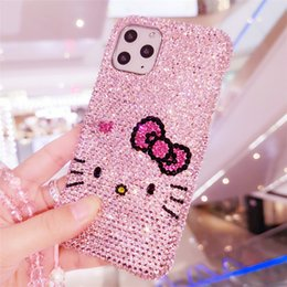 fashion cat iphone case UK - Super Luxury Pink Full Bling Crystal Diamond Cute Cartoon Bowknot Cat Case Cover For iPhone 11 Pro XS Max XR X 8 7 6 6S Plus SE Girl Fashion