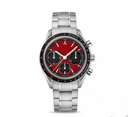 red faced watches NZ - Hot sale luxury watch for man stainless steel red face quartz stopwatch chronograph watches 379