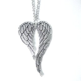 $enCountryForm.capitalKeyWord UK - Vintage Silver Large Guardian Angel Wings Necklace Heart Necklace Pendant Choker Statement Long Chain Necklace Women Jewelry