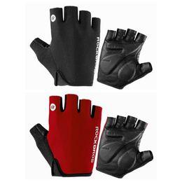 ROCKBROS Half Finger Gloves Short Finger Cycling Sporting Gloves Red