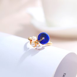 lapis rings 2020 - DAIMI Pearl Ring Blue Lapis Lazuli 5-6mm Natural Freshwater Pearl Rings For Women Adjustable cheap lapis rings