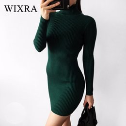 Turtle Charm Green Australia - Wixra Warm And Charm Slim Sheath Package Hip Knitted Sweater Dress Long Sleeved Turtleneck Thick Bodycon Sweater Dress J190509