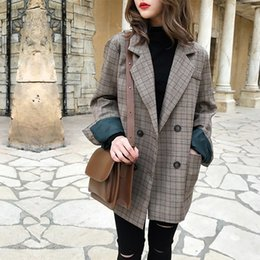 plaid jackets for women Canada - 2019 Winter Women Plaid Blazers Suit Coat Jacket Vintage Office Ladies Blazer Long Sleeve Loose Suit Blazer For Women Female T190906