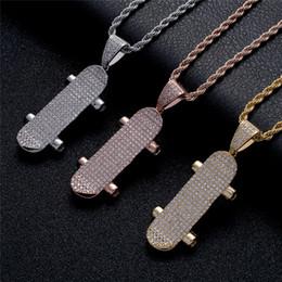 $enCountryForm.capitalKeyWord Australia - Hip Hop Skateboard Pendant Necklace Iced Out Full Zircon Cross Pendant for Boys Men Women Sport Fashion Jewelry
