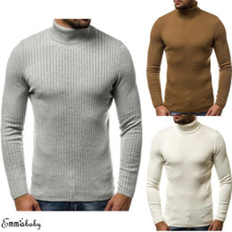 Wholesale cables jumpers for sale - Group buy 2019 Winter Sweaters Men s Plain Classic Chunky Cable High Neck Knitted Turtleneck Tops Winter Warm Knitwear Jumper Sweater